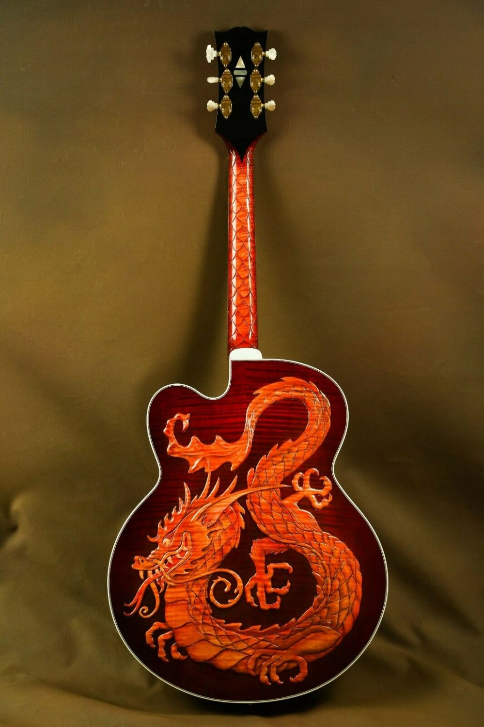 This one-of-a-kind carved masterpiece was built by the great master luthier Bruce Kunkel at the Gibson Custom Shop in Nashville.