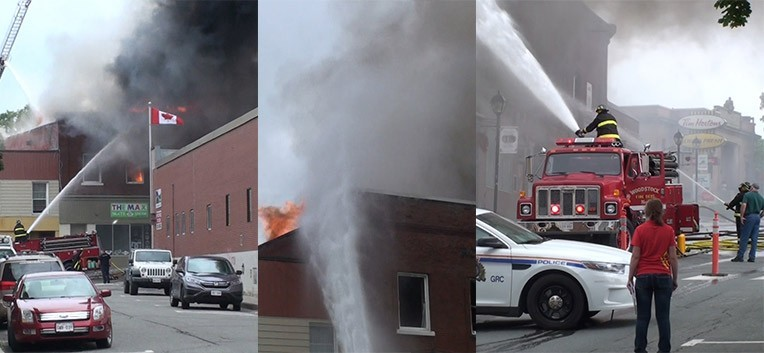 Firefighters battling Woodstock New Brunswick Fire July 25 201, captured by Gone Rogue Records.