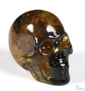 Dominican Blue Amber Carved Crystal Skull